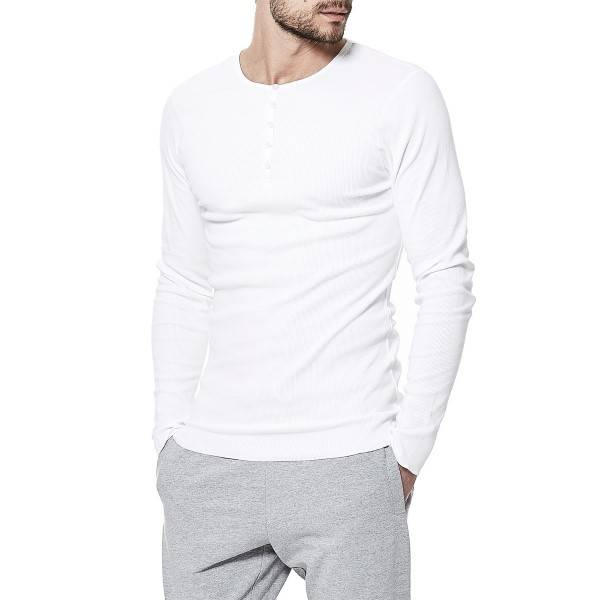 Bread & Boxers Bread and Boxers Henley - White - X-Large