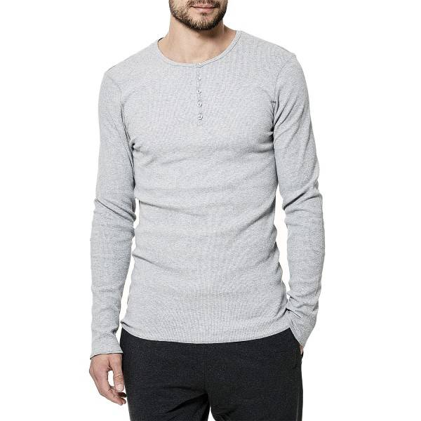 Bread & Boxers Bread and Boxers Henley - Grey - X-Large