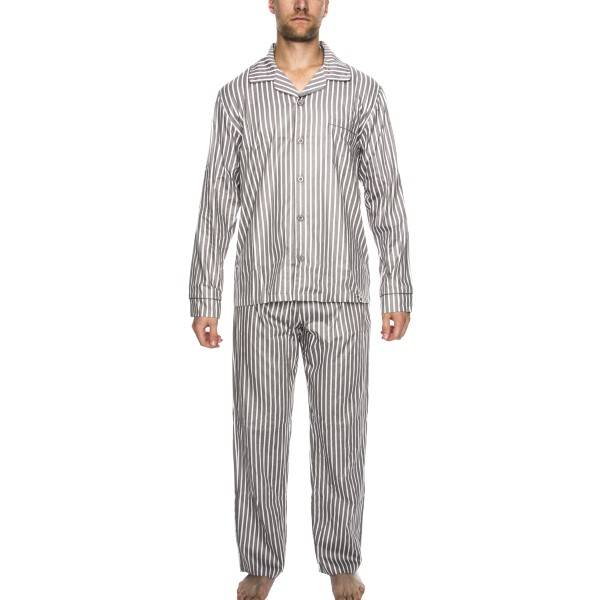 Rayville Mick Pyjamas Solid Pencil Stripe - Greystriped - X-Large * Kampanja *