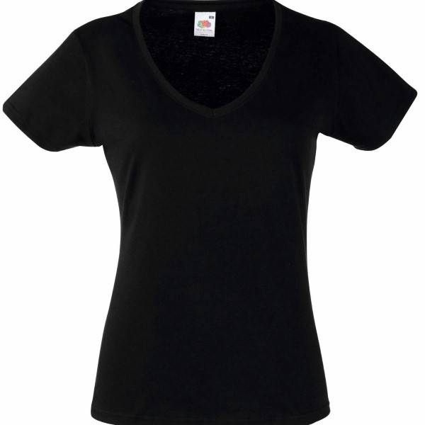 Fruit of the Loom Lady Fit Valueweight V-neck T - Black - Small