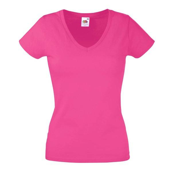 Fruit of the Loom Lady Fit Valueweight V-neck T - Pink - Medium