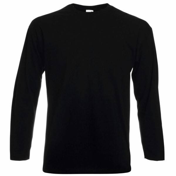 Fruit of the Loom Valueweight Long Sleeve T - Black - Small