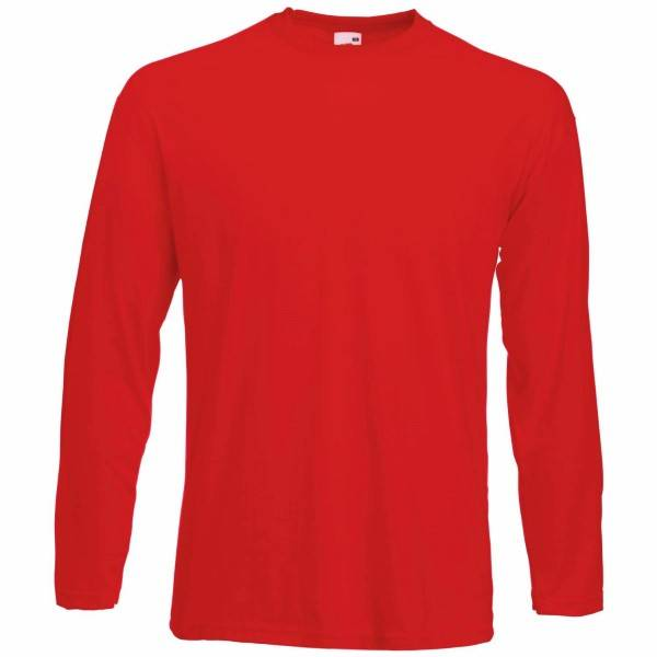 Fruit of the Loom Valueweight Long Sleeve T - Red - Large