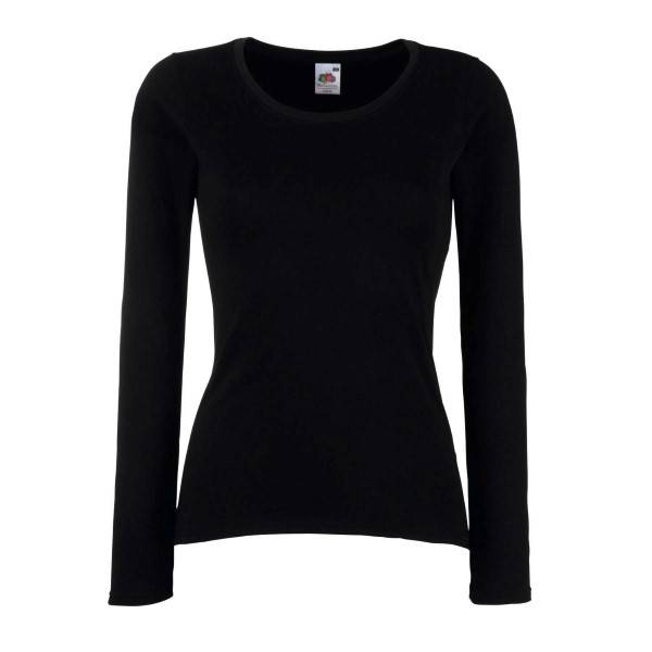 Fruit of the Loom Lady Fit Valueweight Long Sleeve - Black - Medium