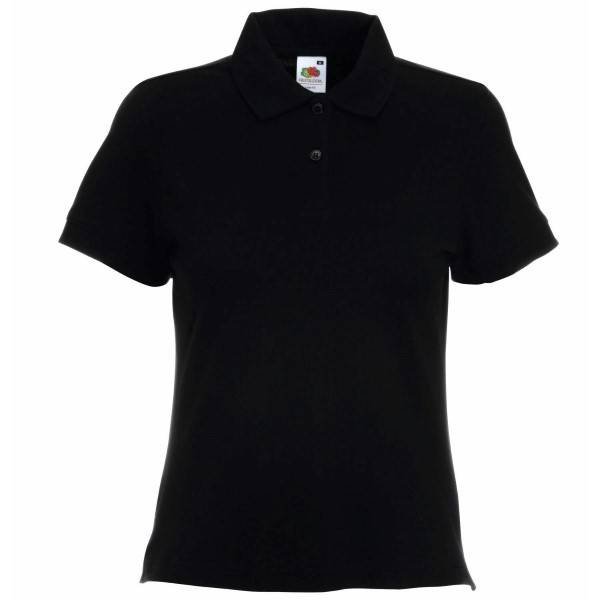 Fruit of the Loom Lady-Fit Polo - Black - X-Large