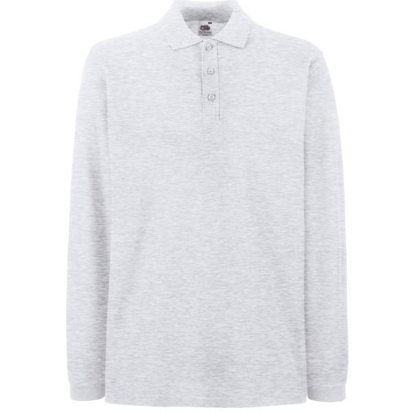 Fruit of the Loom Premium Long Sleeve Polo - Light grey - Small