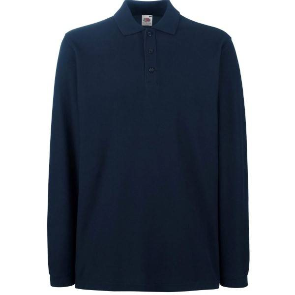 Fruit of the Loom Premium Long Sleeve Polo - Darkblue - Large