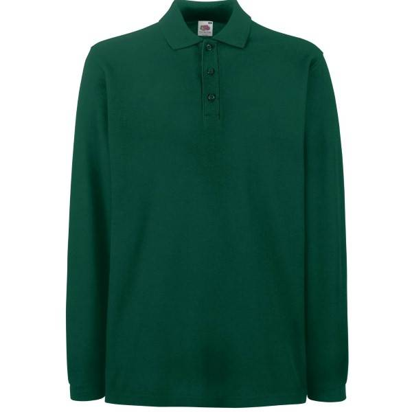Fruit of the Loom Premium Long Sleeve Polo - Green - Large