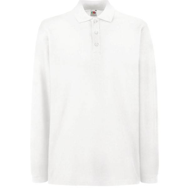 Fruit of the Loom Premium Long Sleeve Polo - White - 3XL