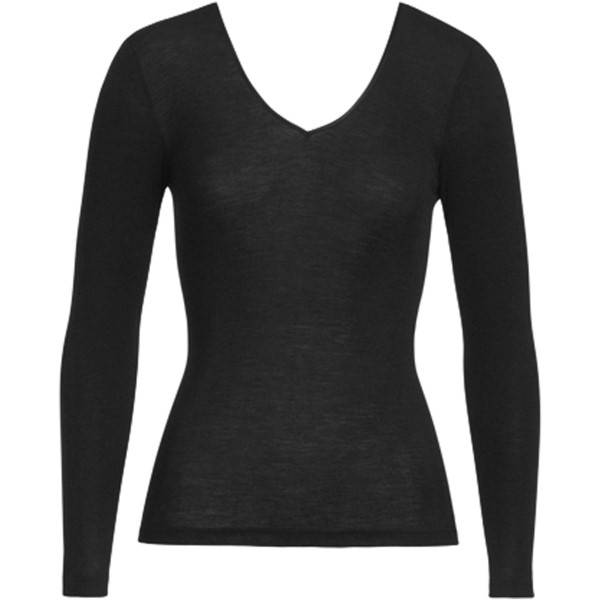 Hanro Woolen Silk Ls Shirt  Black - Black - Small