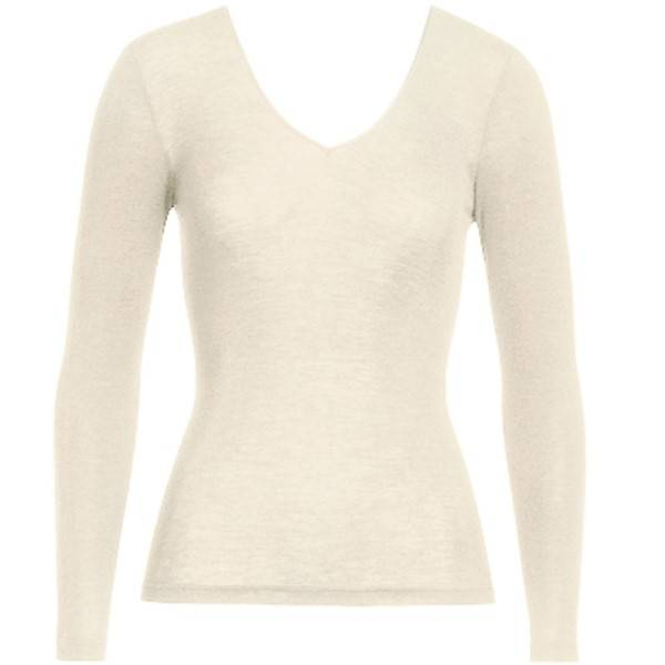 Hanro Woolen Silk Ls Shirt 263 - Ivory - Medium