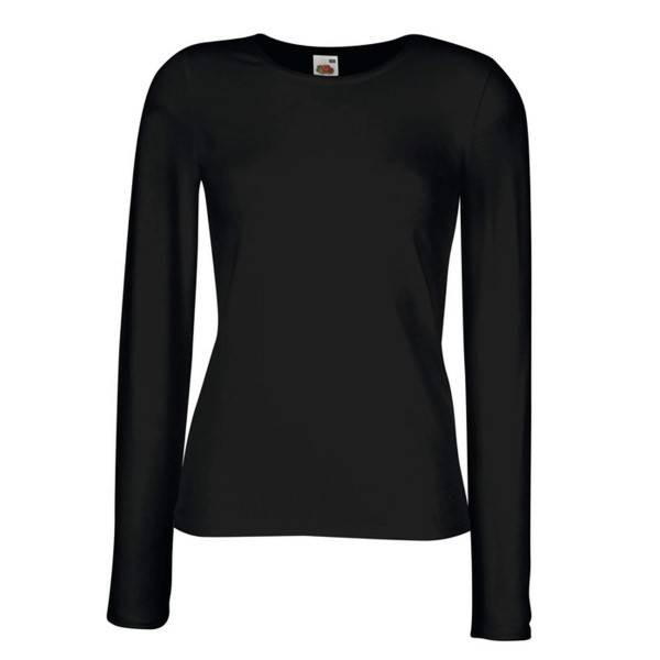 Fruit of the Loom Lady-Fit Long Sleeve Crew Neck - Black - XX-Large