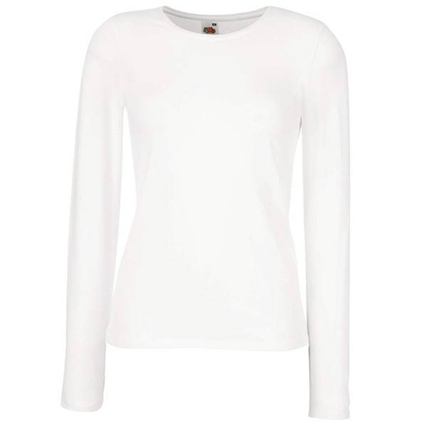 Fruit of the Loom Lady-Fit Long Sleeve Crew Neck - White