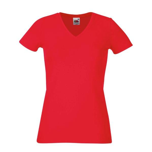Fruit of the Loom Lady-Fit V-Neck T - Red - X-Large