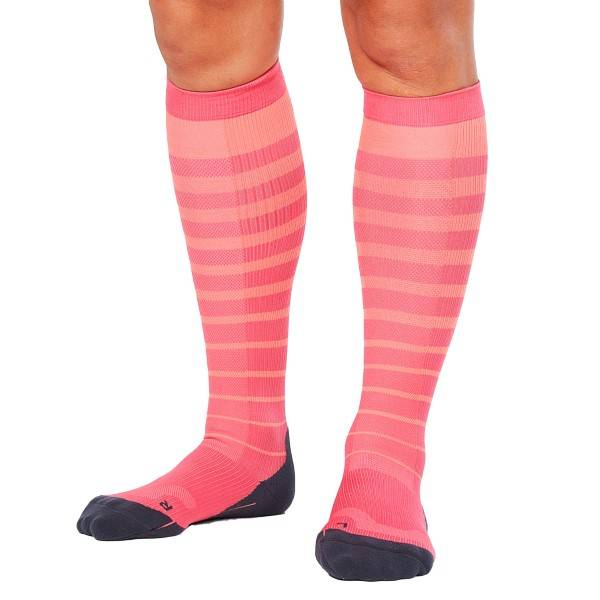 2XU Striped Run Compression Socks Women - Pink