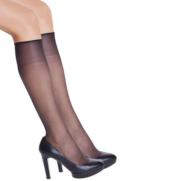 DIM. 2 pakkaus Sublim Voile Mi-Bas Knee-high - Black - One Size