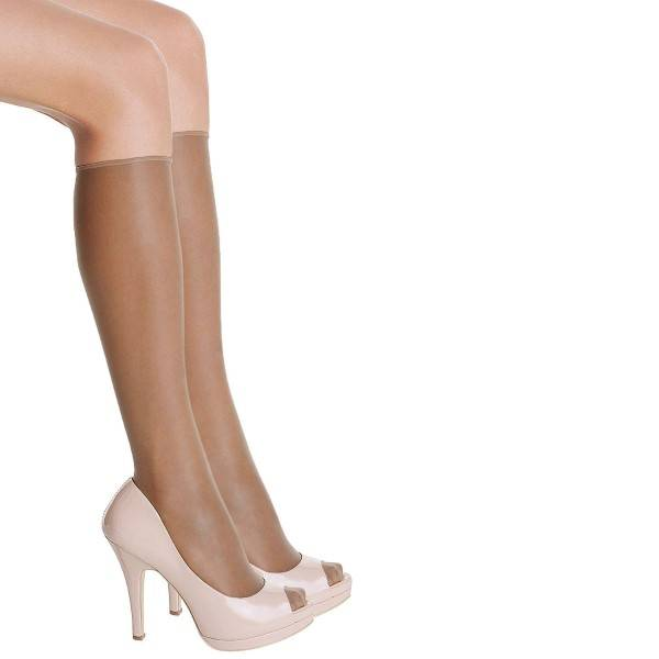 DIM. 2 pakkaus Sublim Voile Mi-Bas Knee-high - Brown - One Size