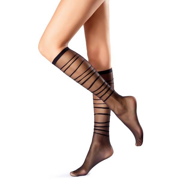 Oroblu Mi-Bas Graphic Waves Knee-Highs 20 - Black - One Size