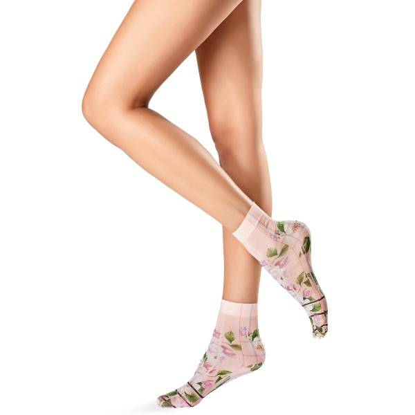 Oroblu Flower Picture Socks - Pink Pattern - One Size