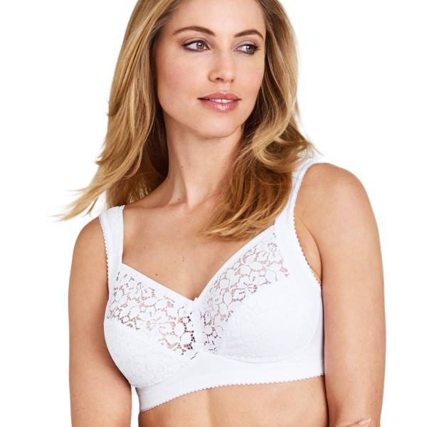 Miss Mary of Sweden Miss Mary Cotton Lace Non-Wired Bra - White