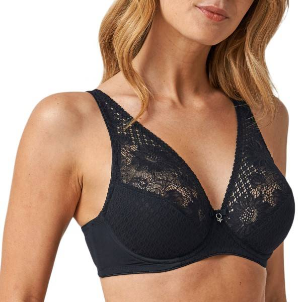 Abecita Lacy-Lace Wire Bra - Black