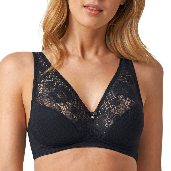 Abecita Lacy-Lace Soft Bra - Black