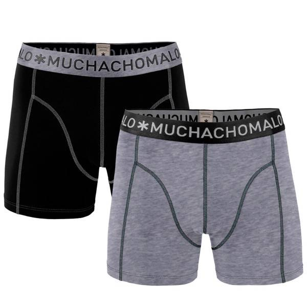 Muchachomalo 2 pakkaus Solid Boxer - Black/Grey - Small