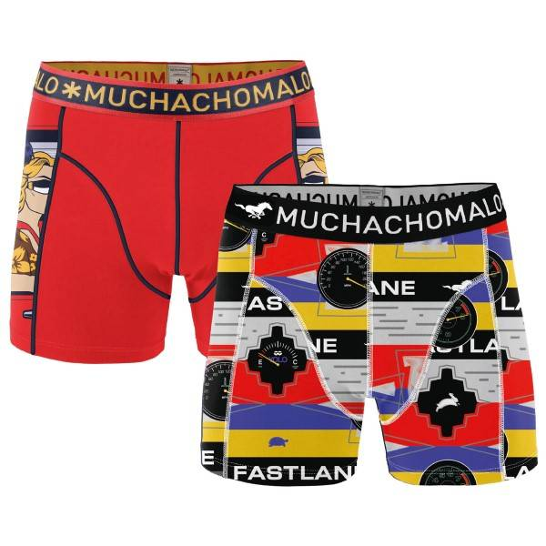 Muchachomalo 2 pakkaus Living In The Fast Lane Boxer - Red Pattern-2 - Medium * Kampanja *