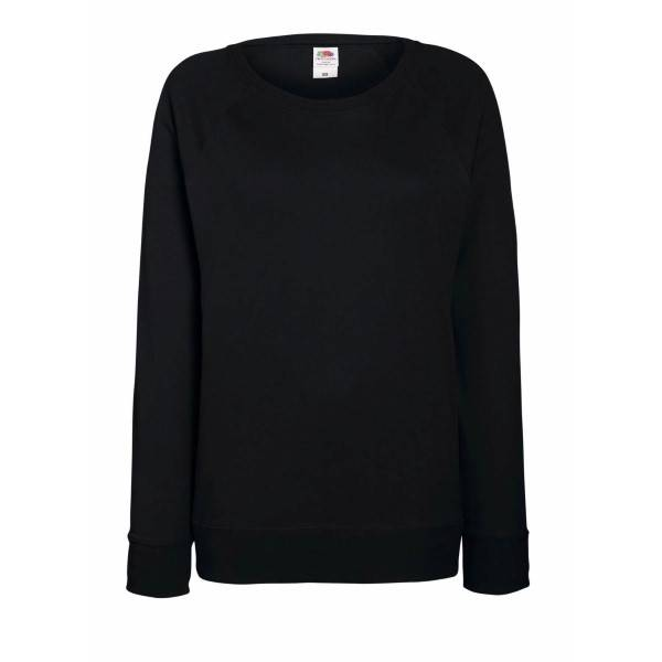 Fruit of the Loom Lady-Fit Light Raglan Sweat - Black - Small