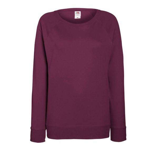Fruit of the Loom Lady-Fit Light Raglan Sweat - Wine red - X-Small * Kampanja *