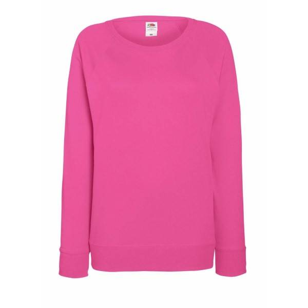 Fruit of the Loom Lady-Fit Light Raglan Sweat - Pink - Small