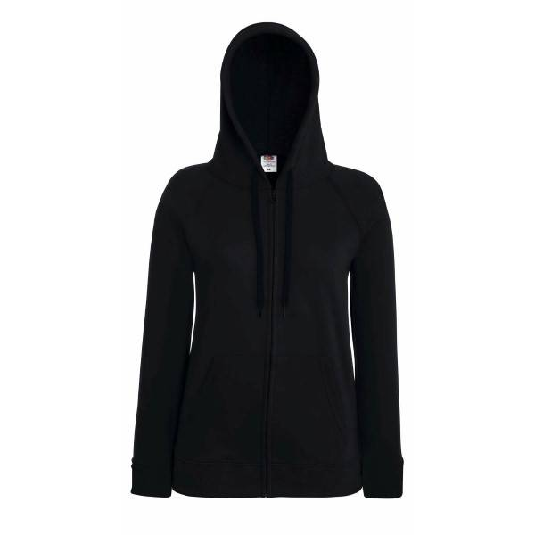 Fruit of the Loom Lady-Fit Hooded Sweat Jacket - Black