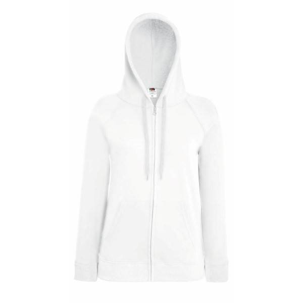 Fruit of the Loom Lady-Fit Hooded Sweat Jacket - White - X-Large