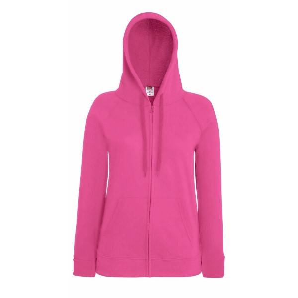 Fruit of the Loom Lady-Fit Hooded Sweat Jacket - Pink - X-Small