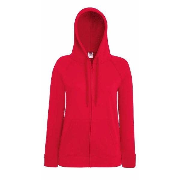 Fruit of the Loom Lady-Fit Hooded Sweat Jacket - Red