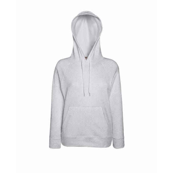 Fruit of the Loom Lady-Fit Light Hooded Sweat - Greymarl - Large