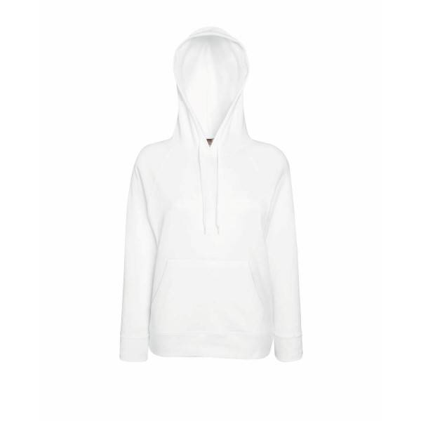 Fruit of the Loom Lady-Fit Light Hooded Sweat - White - Small