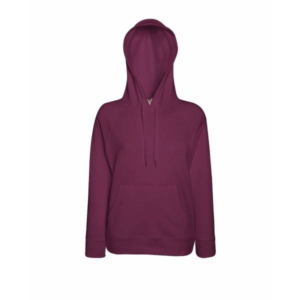 Fruit of the Loom Lady-Fit Light Hooded Sweat - Wine red