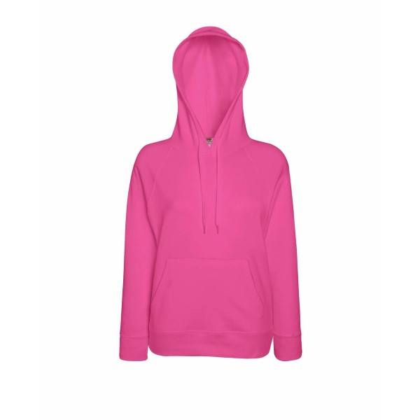 Fruit of the Loom Lady-Fit Light Hooded Sweat - Pink - Medium * Kampanja *