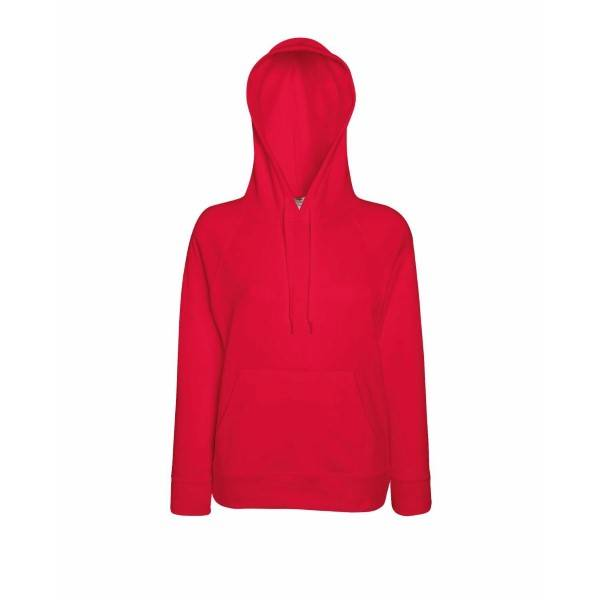 Fruit of the Loom Lady-Fit Light Hooded Sweat - Red - Medium