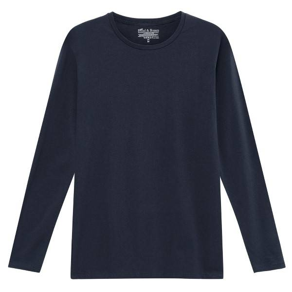 Bread & Boxers Bread and Boxers Long Sleeve Crew Neck - Navy-2