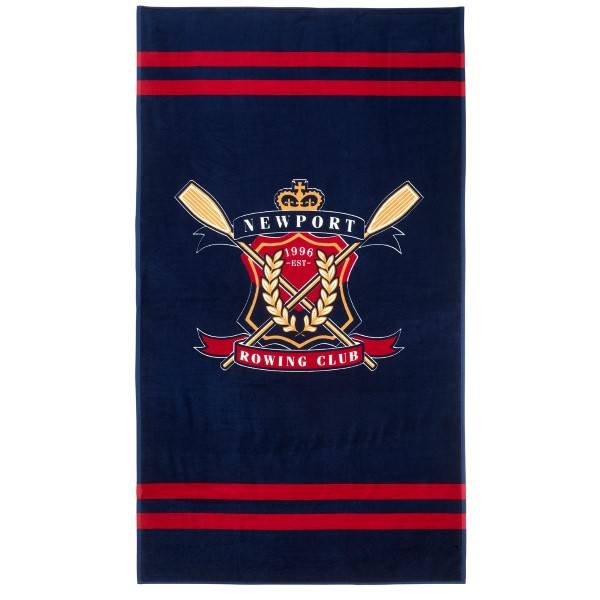 Newport Rowing Club Beach Towel - Navy/Red - One Size