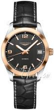 Longines L2.385.5.56.3 Conquest Musta/Nahka Ø34 mm L2.385.5.56.3
