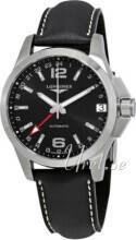 Longines L3.687.4.56.2 Conquest Gmt Musta/Nahka Ø41 mm L3.687.4.56.2