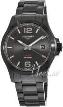 Longines L3.716.2.56.6 Conquest Musta/Teräs Ø41 mm L3.716.2.56.6