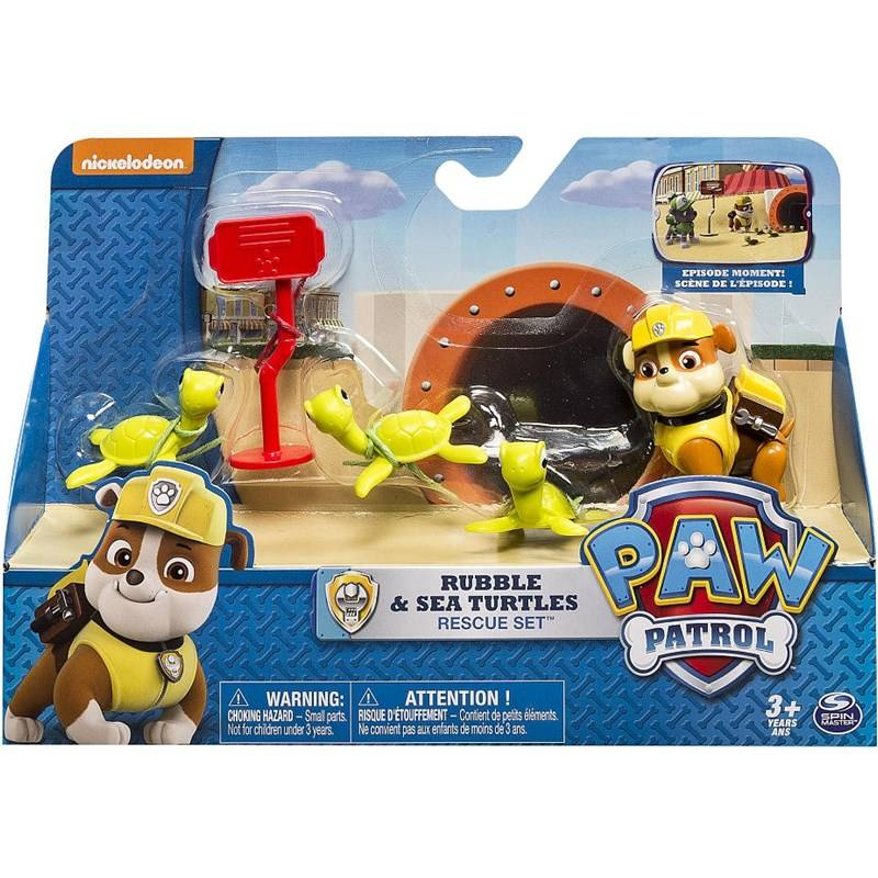 Paw Patrol Rescue Action Pack with friends, Rubble and Sea Turtles Rescue Set