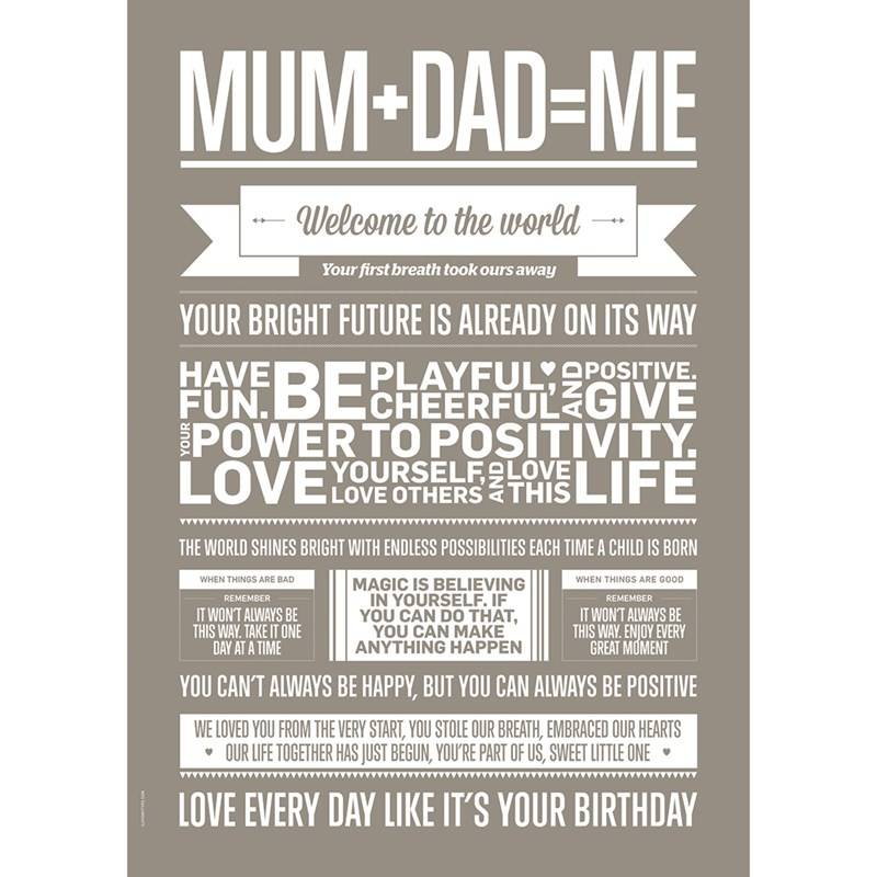I Love My Type Mum Dad Me Poster Sand