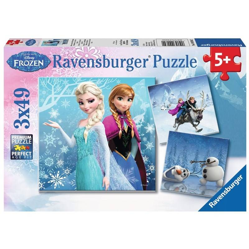 Ravensburg Palapeli, Disney Frozen, Winter Adventure, 3 x 49 palaa