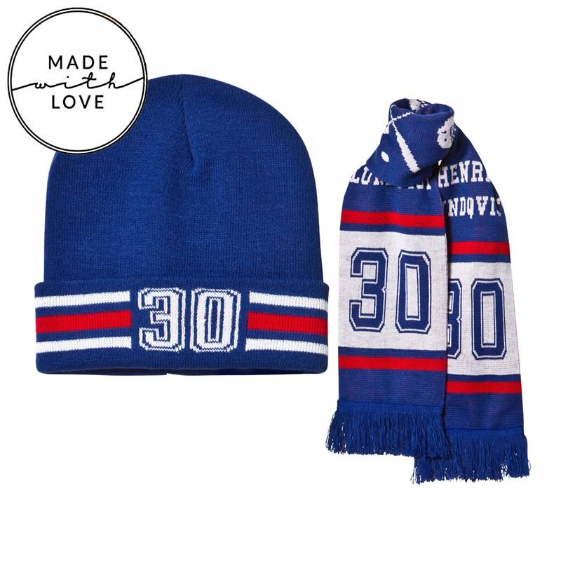 The BRAND Knitted Scarf & Beanie Red/Blue