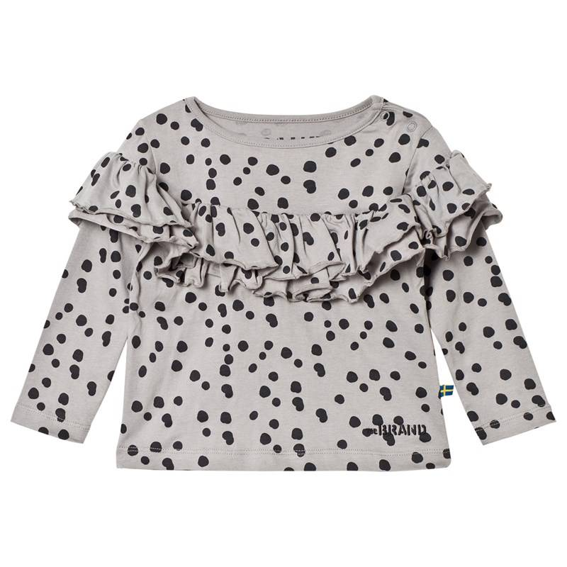 The BRAND Sleeve Wave Top Grey Dot80/86 cm
